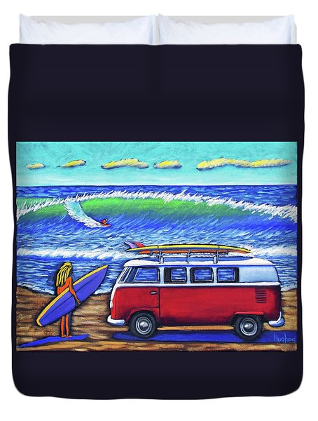 Checking Out The Waves Duvet Cover