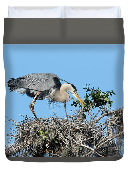 Duvet Cover featuring the photograph Checking The Eggs by Deborah Benoit