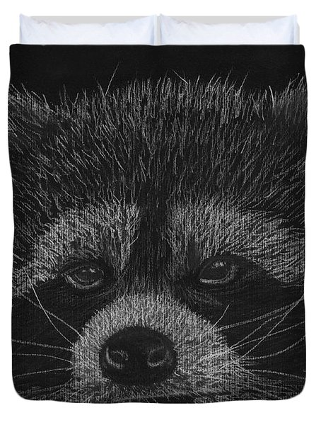 Cheeky Little Guy - Racoon Pastel Drawing Duvet Cover