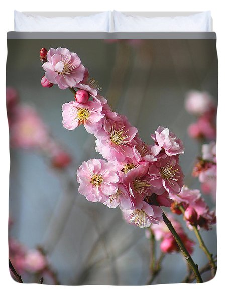 Cheerful Cherry Blossoms Duvet Cover