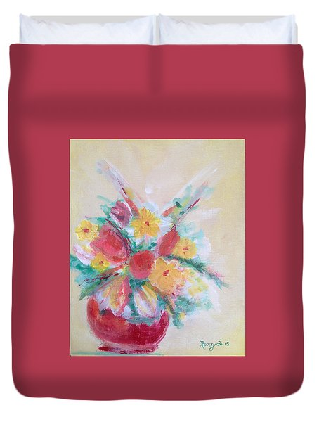 Cheerful Flower Arrangement Duvet Cover by Roxy Rich