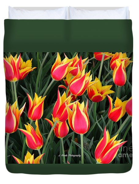 Cheerful Spring Tulips Duvet Cover