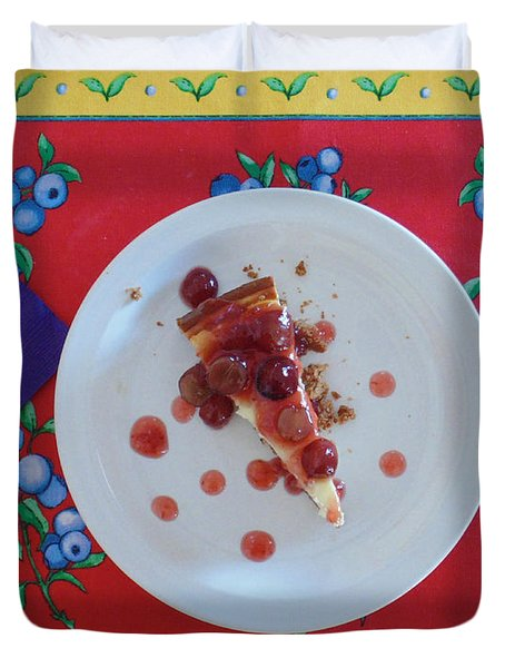 Cheese Cake With Cherries Duvet Cover