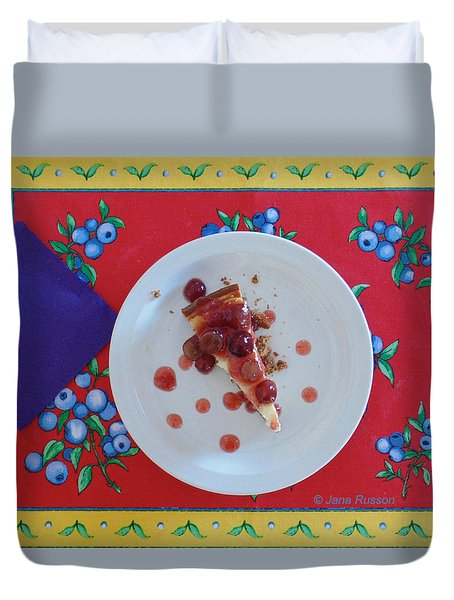 Duvet Cover featuring the digital art Cheese Cake With Cherries by Jana Russon