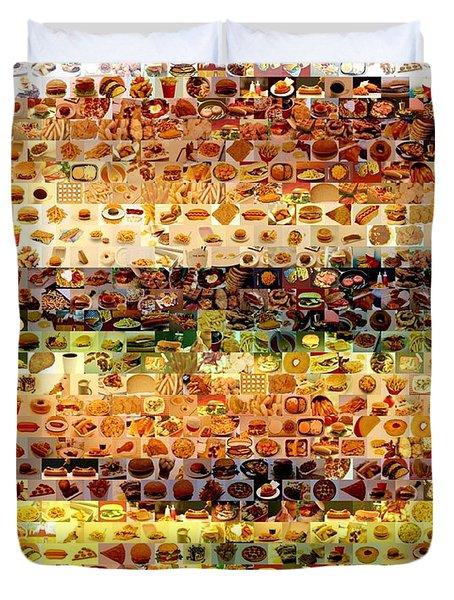Duvet Cover featuring the mixed media Cheeseburger Fast Food Mosaic by Paul Van Scott