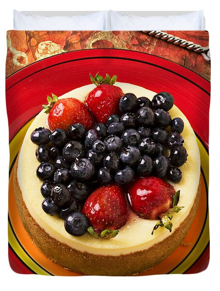Cheesecake On Red Plate Duvet Cover
