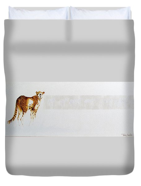 Cheetah And Zebras Duvet Cover