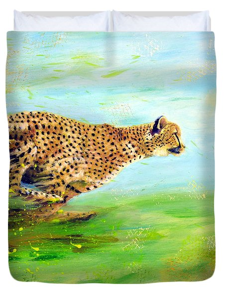 Cheetah At Speed Duvet Cover
