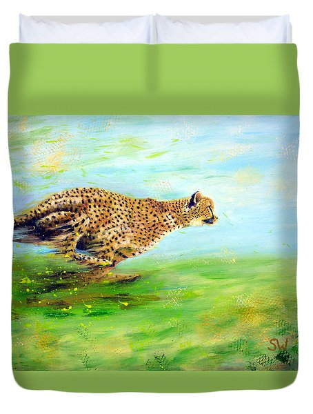 Cheetah At Speed Duvet Cover