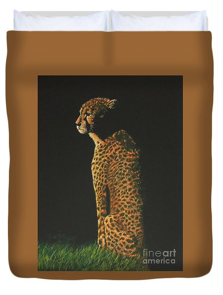 Cheetah At Sunset Duvet Cover