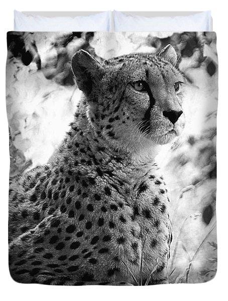 Cheetah B W, Guepard Black And White Duvet Cover