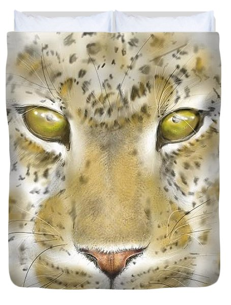 Cheetah Face Duvet Cover by Darren Cannell