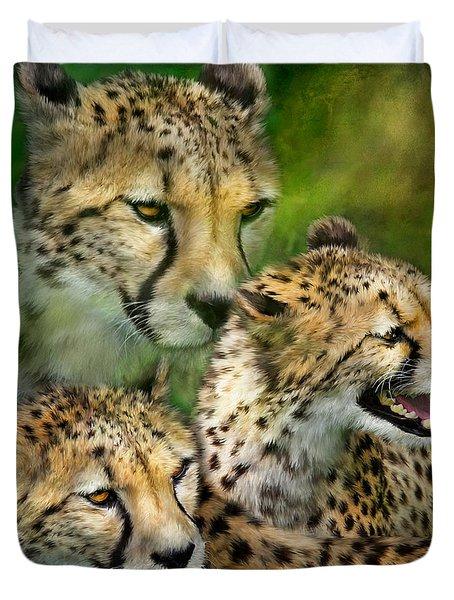 Cheetah Moods Duvet Cover by Carol Cavalaris