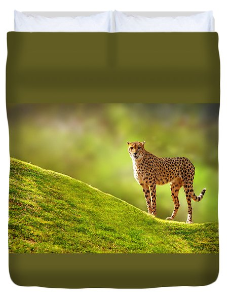 Cheetah On A Hill Duvet Cover