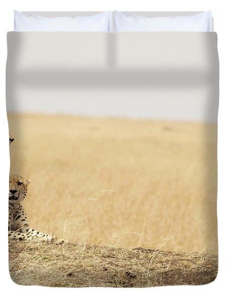 Cheetah Pair In The Masai Mara Duvet Cover