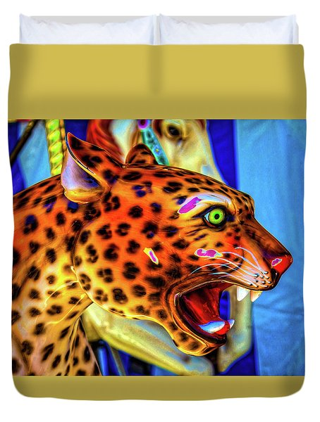Cheetah Ride Portrait Duvet Cover