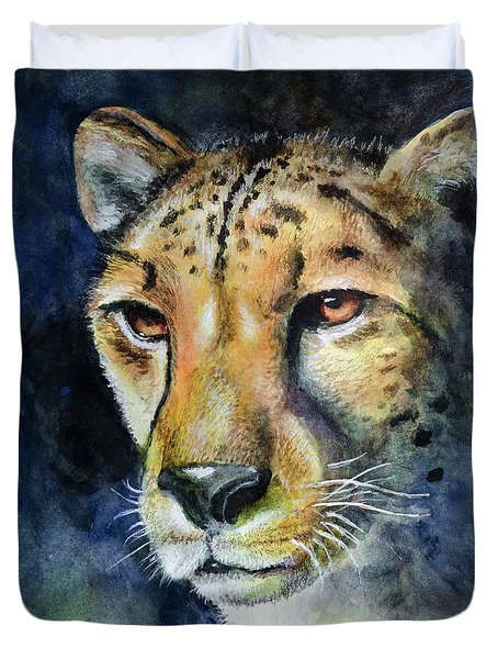 Cheetah Watercolor Duvet Cover