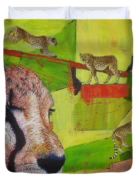 Cheetahs At Play Duvet Cover