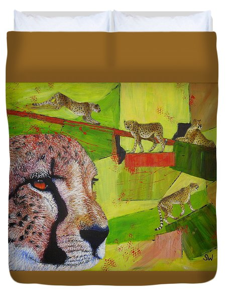 Cheetahs At Play Duvet Cover
