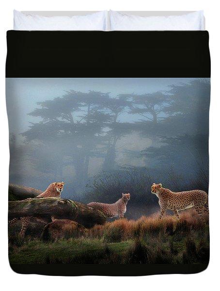 Cheetahs In The Mist Duvet Cover