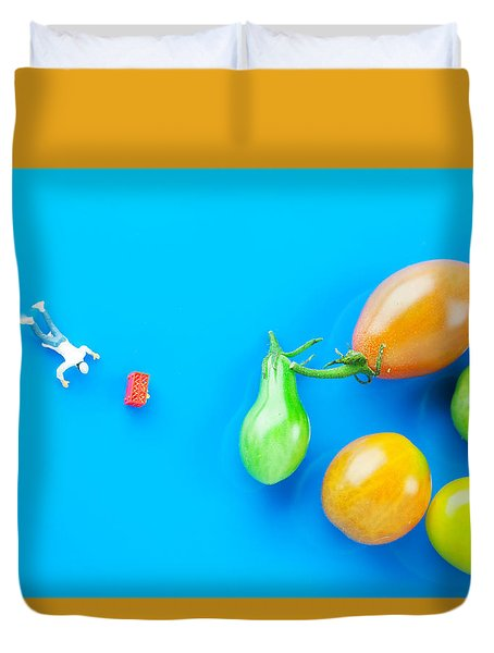 Duvet Cover featuring the painting Chef Tumbled In Front Of Colorful Tomatoes II Little People On Food by Paul Ge