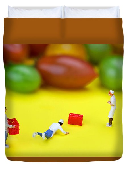 Duvet Cover featuring the painting Chef Tumbled In Front Of Colorful Tomatoes Little People On Food by Paul Ge