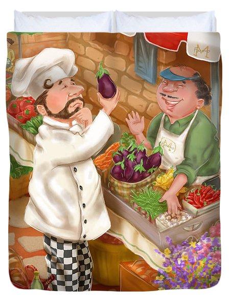 Chefs Go To Market I Duvet Cover