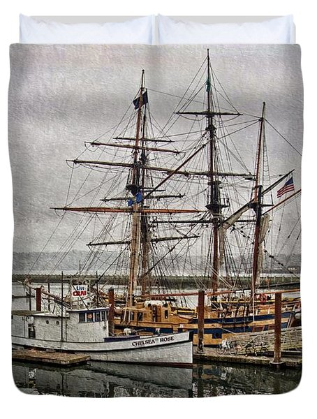 Duvet Cover featuring the photograph Chelsea Rose And Tall Ships by Thom Zehrfeld