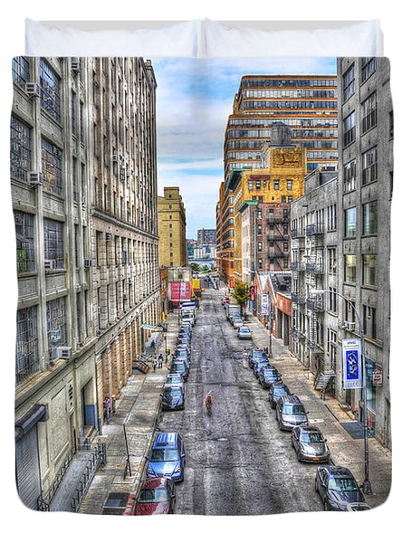 Chelsea Street From The High Line Duvet Cover by Randy Aveille