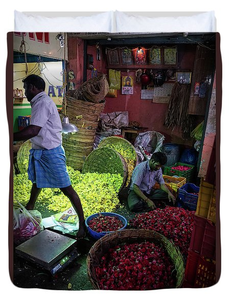 Duvet Cover featuring the photograph Chennai Flower Market Busy Morning by Mike Reid