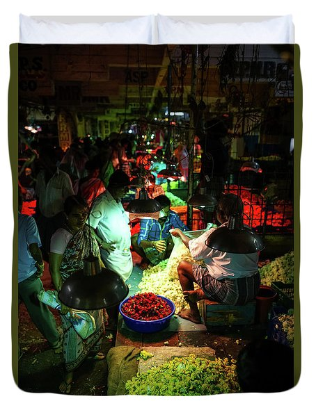 Duvet Cover featuring the photograph Chennai Flower Market Stalls by Mike Reid