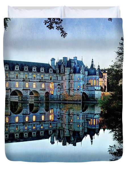 Chenonceau Twilight In Blue - Vintage Version Duvet Cover
