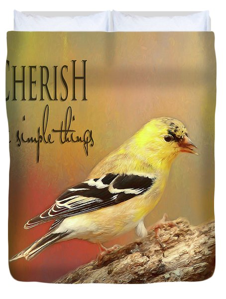 Duvet Cover featuring the photograph Cherish by Darren Fisher