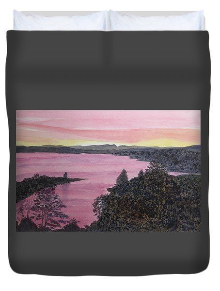 Duvet Cover featuring the painting Cherokee Lake Sunset by Joel Deutsch
