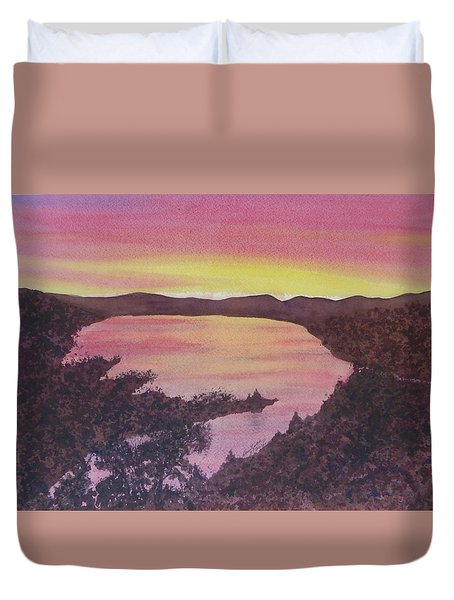 Duvet Cover featuring the painting Cherokee Lake Sunset Number Seven by Joel Deutsch