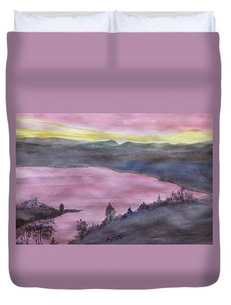 Duvet Cover featuring the painting Cherokee Lake - Watercolor Sketch  by Joel Deutsch
