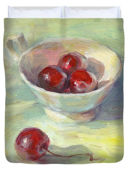 Cherries In A Cup On A Sunny Day Painting Duvet Cover by Svetlana Novikova