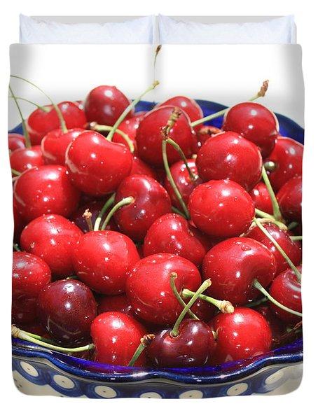 Cherries In Blue Bowl Duvet Cover by Carol Groenen