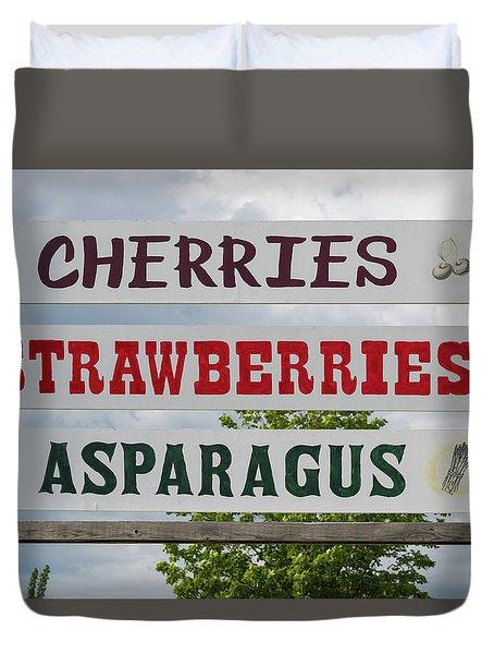 Cherries Strawberries Asparagus Roadside Sign Duvet Cover