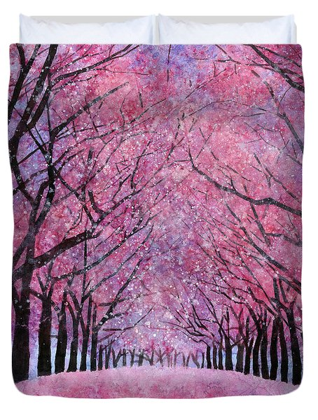 Duvet Cover featuring the painting Cherry Blast by Hailey E Herrera
