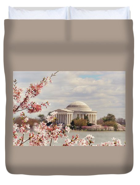 Cherry Blossom And Jefferson Duvet Cover by Rima Biswas
