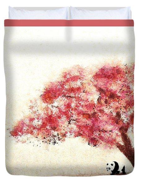 Cherry Blossom And Panda Duvet Cover