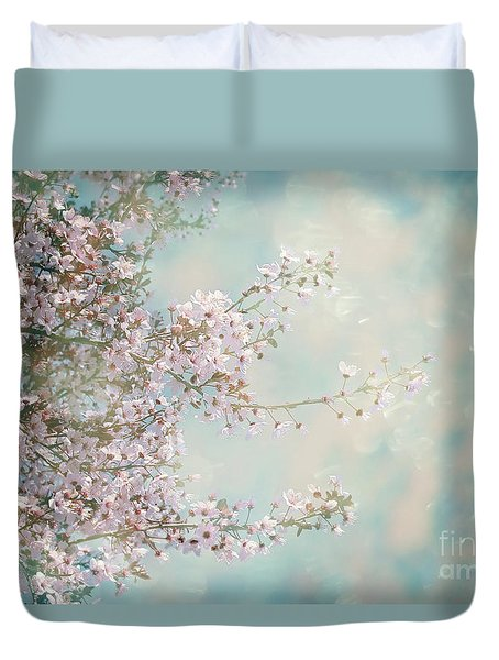 Duvet Cover featuring the photograph Cherry Blossom Dreams by Linda Lees