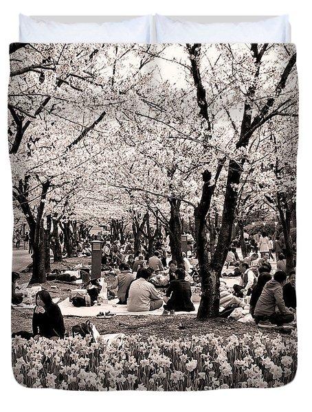 Cherry Blossom Festival Duvet Cover