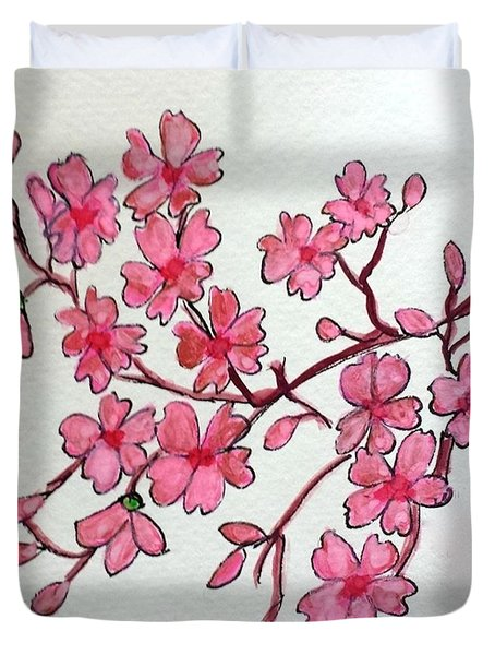 Duvet Cover featuring the painting Cherry Blossom by Margaret Welsh Willowsilk