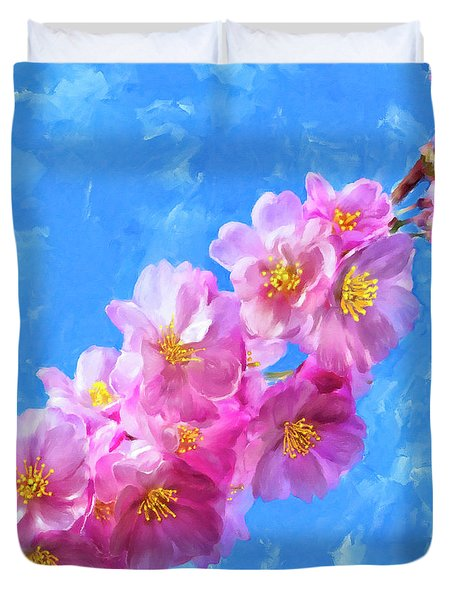 Duvet Cover featuring the painting Cherry Blossom Pink - Impressions Of Spring by Mark Tisdale