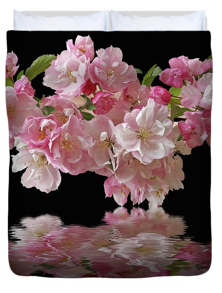 Cherry Blossom Reflections On Black Duvet Cover by Gill Billington