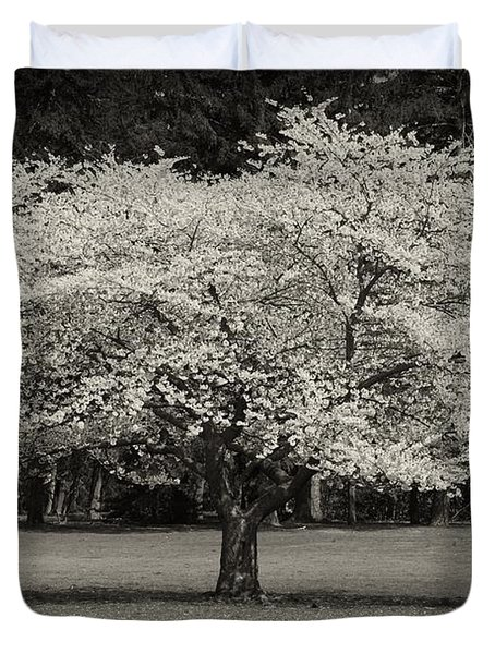 Cherry Blossom Tree - Ocean County Park Duvet Cover