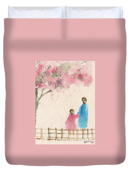 Cherry Blossom Tree Over The Bridge Duvet Cover