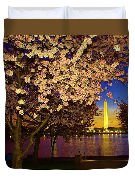 Cherry Blossom Washington Monument Duvet Cover